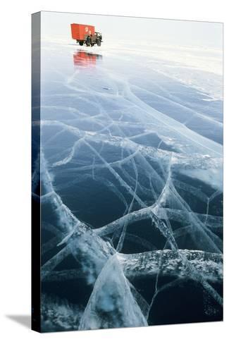 Truck on Frozen Lake Baikal-Ria Novosti-Stretched Canvas Print