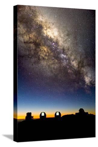 Mauna Kea Telescopes And Milky Way-David Nunuk-Stretched Canvas Print