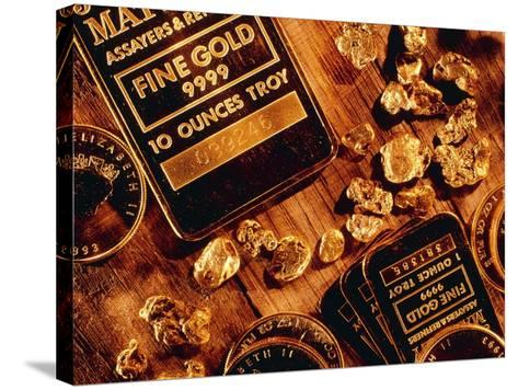 Nuggets, Bars And Coins Made of Gold-David Nunuk-Stretched Canvas Print
