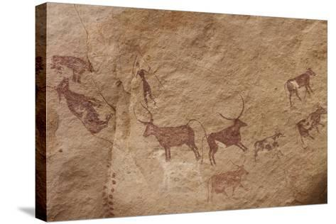 Pictograph of Lion Attack, Libya-David Parker-Stretched Canvas Print