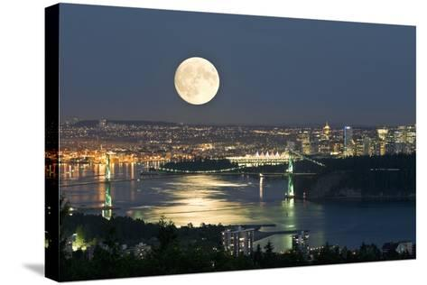 Full Moon Over Vancouver-David Nunuk-Stretched Canvas Print