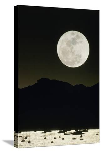 Full Moon Seen From Earth Over Mountains-David Nunuk-Stretched Canvas Print