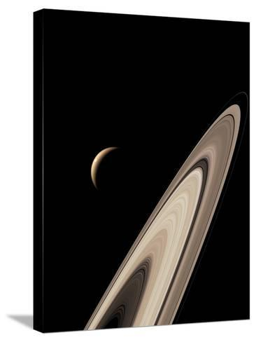Titan's Lakes And Saturn's Rings-David Parker-Stretched Canvas Print