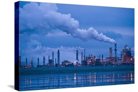 Oil Refinery At Dusk-David Nunuk-Stretched Canvas Print