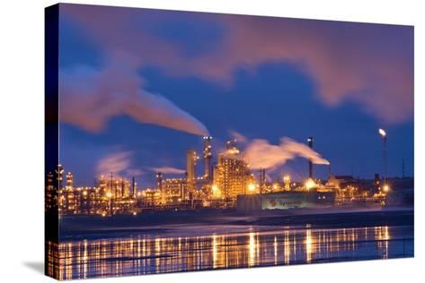 Oil Refinery At Night-David Nunuk-Stretched Canvas Print