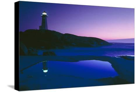 Dusk View of Lighthouse, Nova Scotia-David Nunuk-Stretched Canvas Print