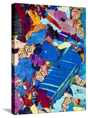 Polarised LM of a Thin Section of Gabbro Rock-PASIEKA-Stretched Canvas Print