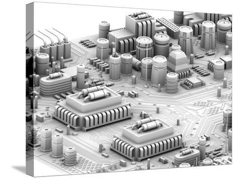 Circuit Board, Artwork-PASIEKA-Stretched Canvas Print