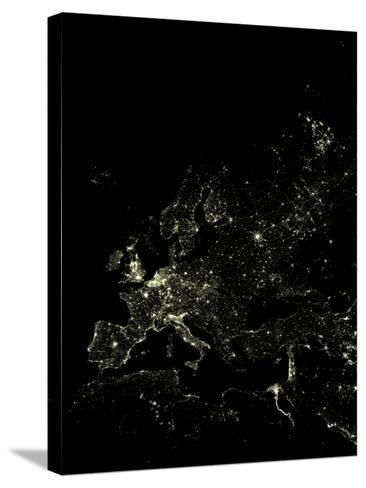 Europe At Night, Satellite Image-PLANETOBSERVER-Stretched Canvas Print