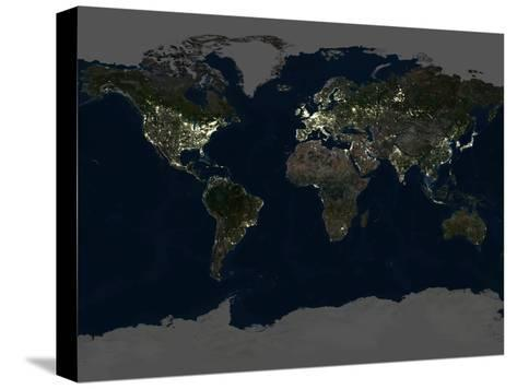 Whole Earth At Night, Satellite Image-PLANETOBSERVER-Stretched Canvas Print