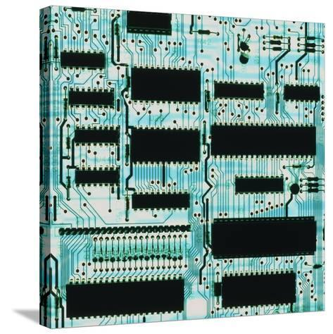 Circuit Board with Microprocessors, Etc.-PASIEKA-Stretched Canvas Print