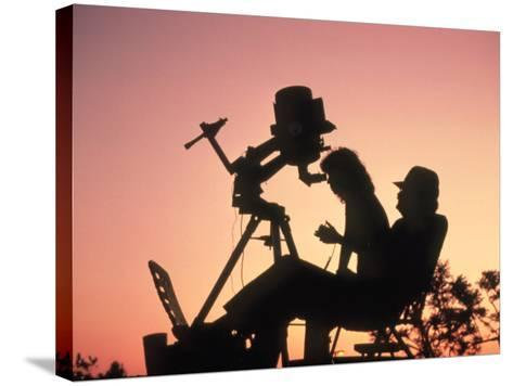 Amateur Astronomers with Meade 2080 20cm Telescope-John Sanford-Stretched Canvas Print