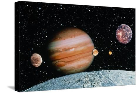 Jupiter And the Galilean Moons Seen From Leda-Science Photo Library-Stretched Canvas Print