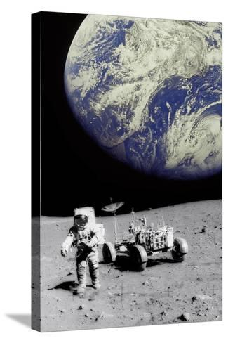 Astronaut on Moon with Earth-Science Photo Library-Stretched Canvas Print