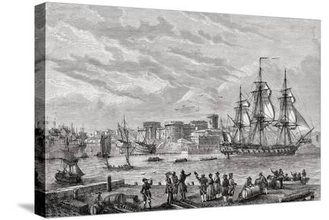 Brest in 1791, Engraved by Le Breton, from 'Histoire De La Revolution Francaise' by Louis Blanc…--Stretched Canvas Print