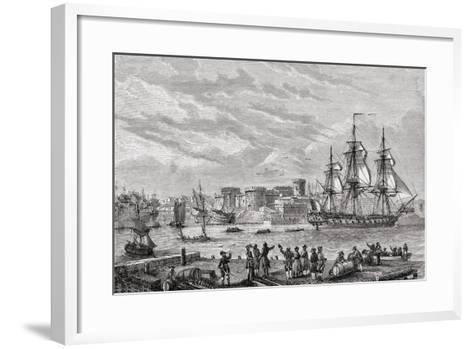 Brest in 1791, Engraved by Le Breton, from 'Histoire De La Revolution Francaise' by Louis Blanc…--Framed Art Print