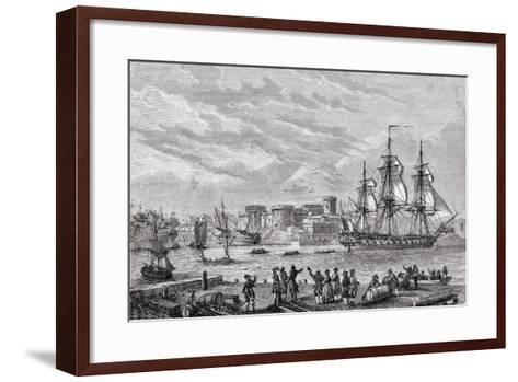 Brest in 1791, Engraved by Le Breton, from 'Histoire De La Revolution Francaise' by Louis Blanc…--Framed Art Print
