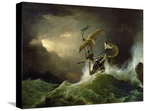 A First Rate Man-Of-War Driven onto a Reef of Rocks, Floundering in a Gale-George Philip Reinagle-Stretched Canvas Print