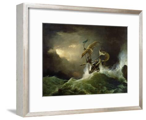 A First Rate Man-Of-War Driven onto a Reef of Rocks, Floundering in a Gale-George Philip Reinagle-Framed Art Print