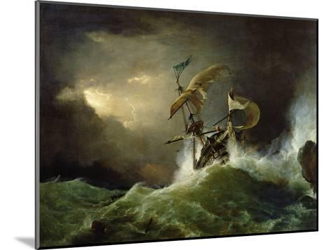 A First Rate Man-Of-War Driven onto a Reef of Rocks, Floundering in a Gale-George Philip Reinagle-Mounted Giclee Print