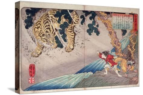 Yoko and the Tiger, from 'Twenty-Four Paragons of Filial Piety' ('Nijushi Ko Doji Kagami'), Pub.?-Kuniyoshi Utagawa-Stretched Canvas Print