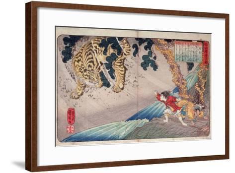 Yoko and the Tiger, from 'Twenty-Four Paragons of Filial Piety' ('Nijushi Ko Doji Kagami'), Pub.?-Kuniyoshi Utagawa-Framed Art Print