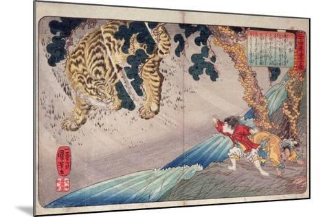Yoko and the Tiger, from 'Twenty-Four Paragons of Filial Piety' ('Nijushi Ko Doji Kagami'), Pub.?-Kuniyoshi Utagawa-Mounted Giclee Print