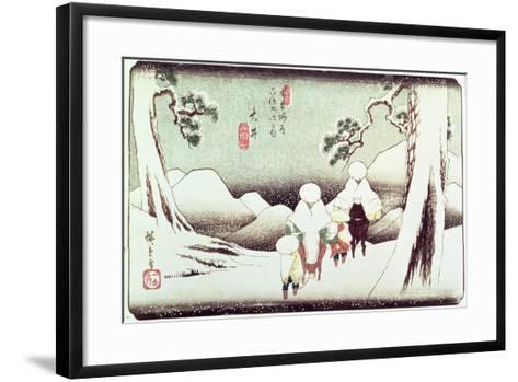 'Travellers in the Snow at Oi', from the Series '69 Stations of Kisokaido', Pub. Late 1830's-Ando Hiroshige-Framed Art Print