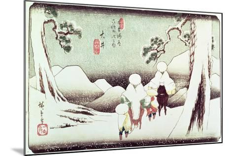 'Travellers in the Snow at Oi', from the Series '69 Stations of Kisokaido', Pub. Late 1830's-Ando Hiroshige-Mounted Giclee Print