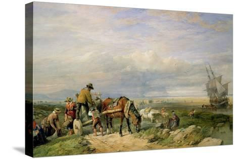 Cockle Gatherers, Llanrhidian Sands, West Glamorgan, on the Gower Peninsula-Edward Duncan-Stretched Canvas Print