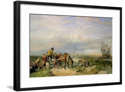 Cockle Gatherers, Llanrhidian Sands, West Glamorgan, on the Gower Peninsula-Edward Duncan-Framed Art Print