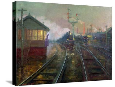 Train at Night C.1890-Lionel Walden-Stretched Canvas Print