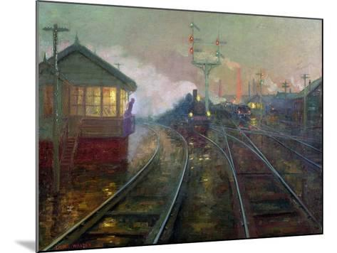 Train at Night C.1890-Lionel Walden-Mounted Giclee Print