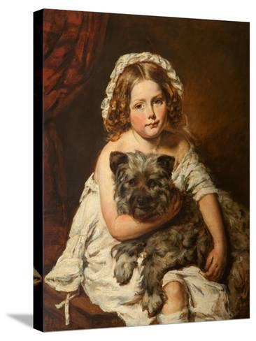 Young Girl with Her Dog--Stretched Canvas Print