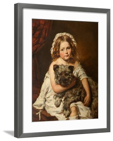Young Girl with Her Dog--Framed Art Print
