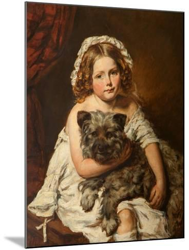 Young Girl with Her Dog--Mounted Giclee Print