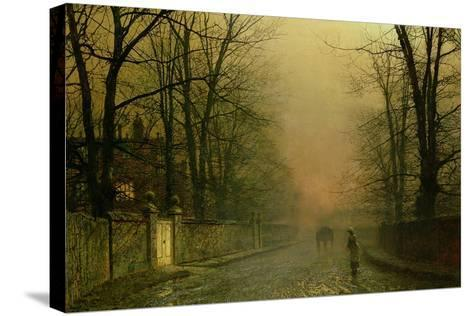 Where the Pale Moonbeams Linger-John Atkinson Grimshaw-Stretched Canvas Print