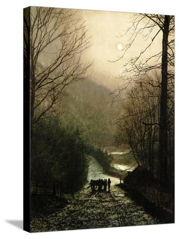 The Timber Waggon-John Atkinson Grimshaw-Stretched Canvas Print