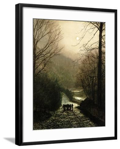 The Timber Waggon-John Atkinson Grimshaw-Framed Art Print