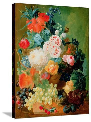 Still Life with Fruit, Flowers and Bird's Nest-Jan van Os-Stretched Canvas Print