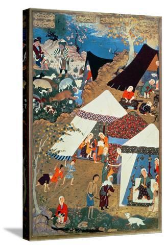Or 2265 Folio 1576 Camp Scene by Mir Sayyid'Ali, from the 'Khamsa' of Nizami, Tabriz, 1539-43--Stretched Canvas Print