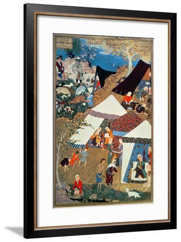 Or 2265 Folio 1576 Camp Scene by Mir Sayyid'Ali, from the 'Khamsa' of Nizami, Tabriz, 1539-43--Framed Art Print