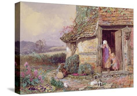 At the Cottage Door-Myles Birket Foster-Stretched Canvas Print