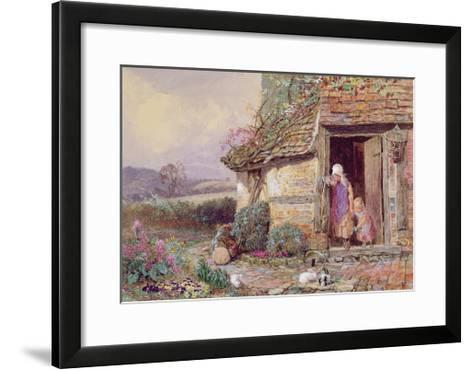 At the Cottage Door-Myles Birket Foster-Framed Art Print
