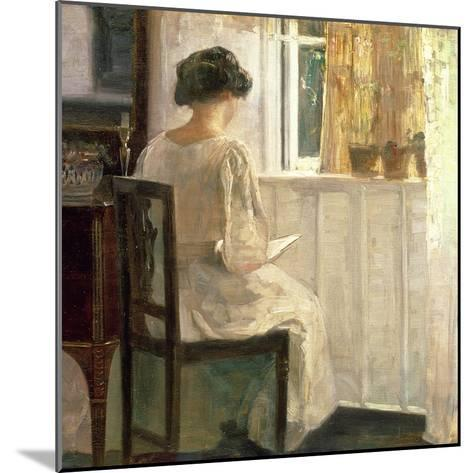 Girl Reading in a Sunlit Room-Carl Holsoe-Mounted Giclee Print