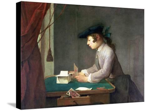 The House of Cards-Jean-Baptiste Simeon Chardin-Stretched Canvas Print