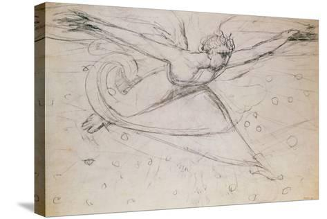 An Angel Striding Among the Stars-William Blake-Stretched Canvas Print