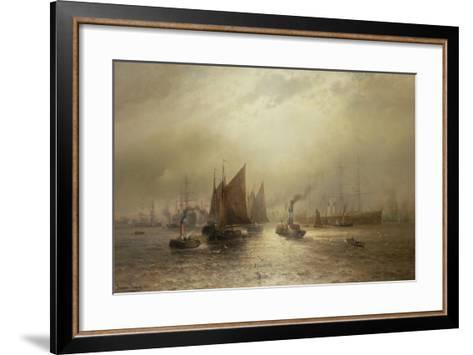 A Busy Morning on the River Mersey, 1891-Francis Krause-Framed Art Print