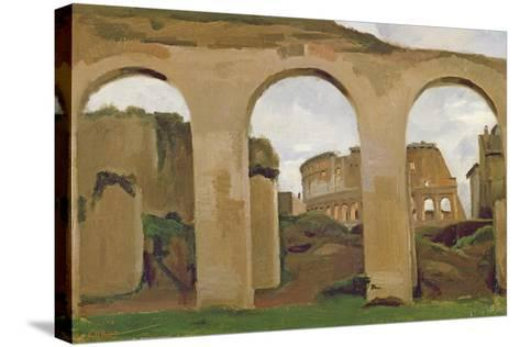 The Colosseum, Seen Through the Arcades of the Basilica of Constantine, 1825-Jean-Baptiste-Camille Corot-Stretched Canvas Print