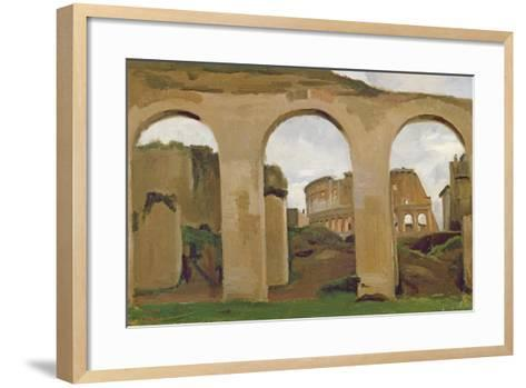 The Colosseum, Seen Through the Arcades of the Basilica of Constantine, 1825-Jean-Baptiste-Camille Corot-Framed Art Print